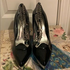 Sparkly Baby Phat Stiletto Heels w/ Ankle Chain 9B